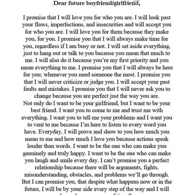 Dear future boyfriend letters