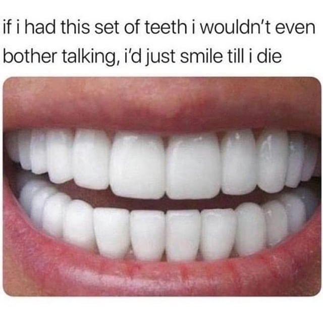 if i had this set of teeth i wouldn't even bother talking, i'd just smile till i die