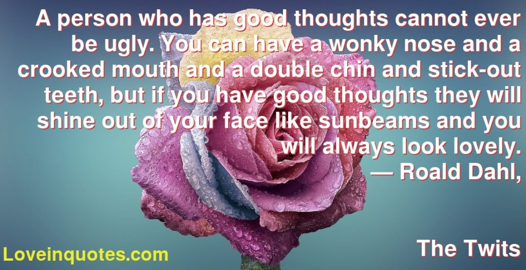 A person who has good thoughts cannot ever be ugly. You can have a wonky nose and a crooked mouth and a double chin and stick-out teeth, but if you have good thoughts they will shine out of your face like sunbeams and you will always look lovely.      ― Roald Dahl,               The Twits