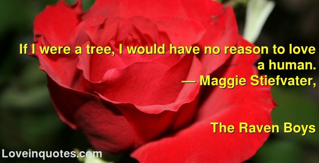 If I were a tree, I would have no reason to love a human.      ― Maggie Stiefvater,               The Raven Boys