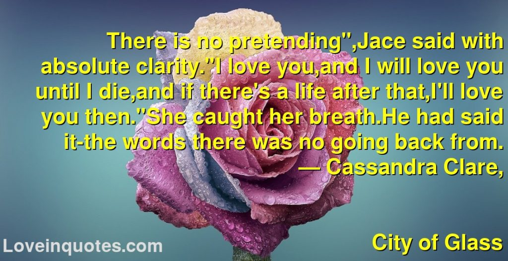 """There is no pretending"""",Jace said with absolute clarity.""""I love you,and I will love you until I die,and if there's a life after that,I'll love you then.""""She caught her breath.He had said it-the words there was no going back from.      ― Cassandra Clare,               City of Glass"""