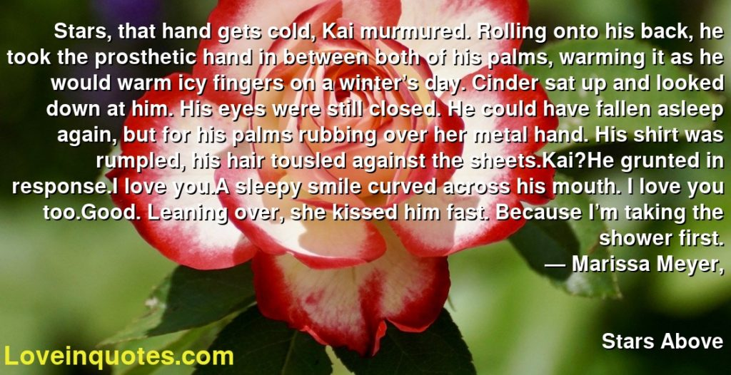 Stars, that hand gets cold, Kai murmured. Rolling onto his back, he took the prosthetic hand in between both of his palms, warming it as he would warm icy fingers on a winter's day. Cinder sat up and looked down at him. His eyes were still closed. He could have fallen asleep again, but for his palms rubbing over her metal hand. His shirt was rumpled, his hair tousled against the sheets.Kai?He grunted in response.I love you.A sleepy smile curved across his mouth. I love you too.Good. Leaning over, she kissed him fast. Because I'm taking the shower first.      ― Marissa Meyer,               Stars Above
