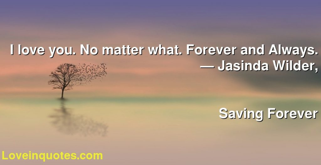 I love you. No matter what. Forever and Always.      ― Jasinda Wilder,               Saving Forever