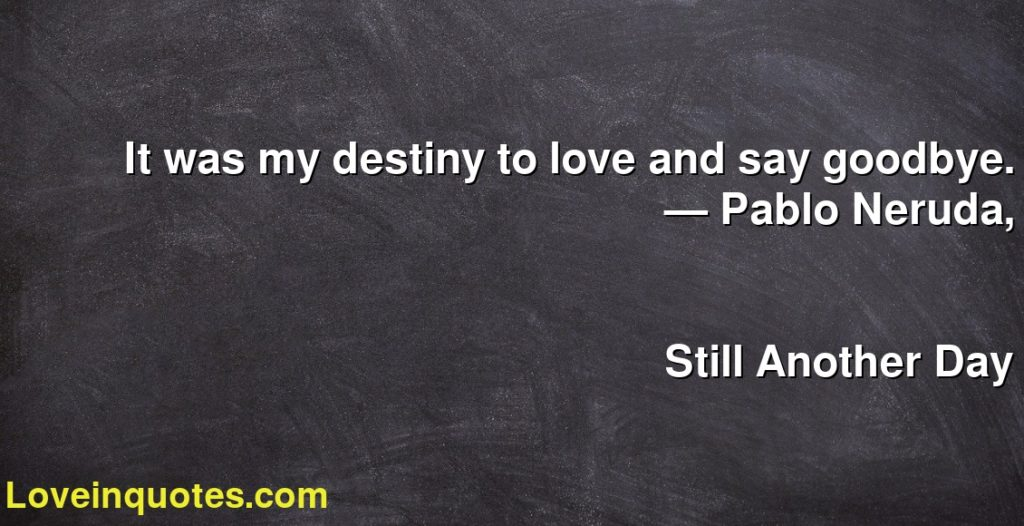 It Was My Destiny To Love And Say Goodbye Pablo Neruda Still