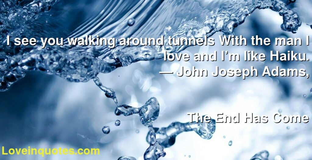 I see you walking around tunnels With the man I love and I'm like Haiku.      ― John Joseph Adams,               The End Has Come