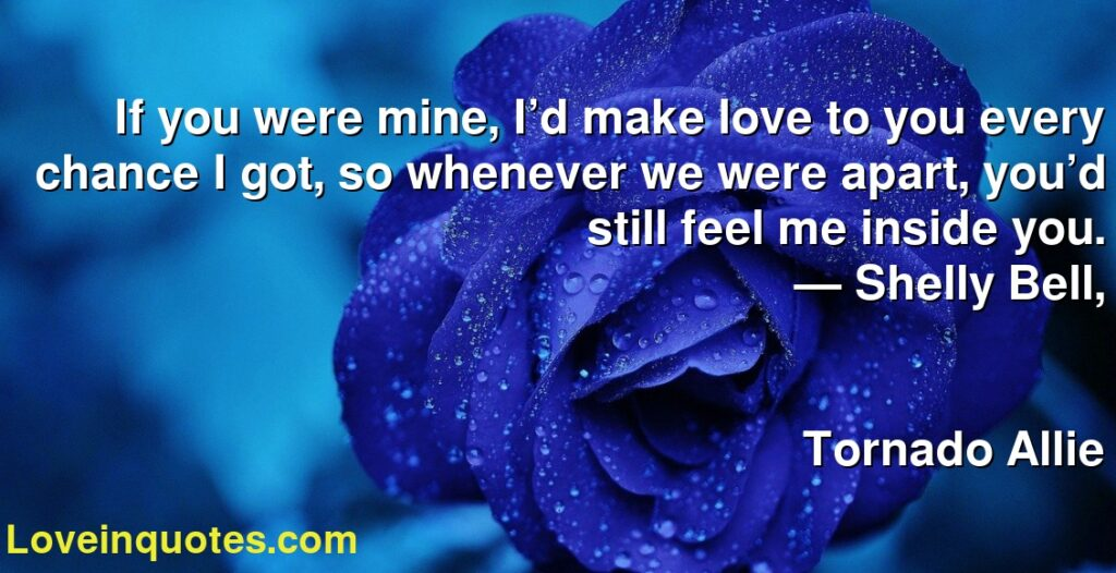 If you were mine, I'd make love to you every chance I got, so whenever we were apart, you'd still feel me inside you.      ― Shelly Bell,               Tornado Allie