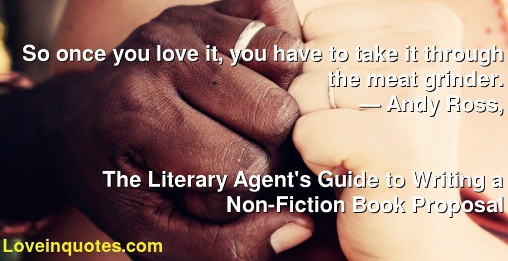 So once you love it, you have to take it through the meat grinder.      ― Andy Ross,               The Literary Agent's Guide to Writing a Non-Fiction Book Proposal