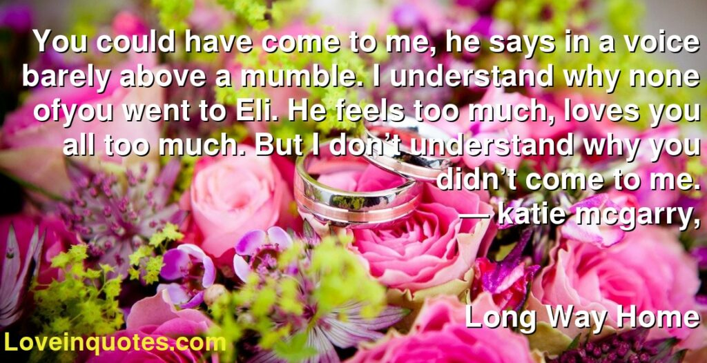 You could have come to me, he says in a voice barely above a mumble. I understand why none ofyou went to Eli. He feels too much, loves you all too much. But I don't understand why you didn't come to me.      ― katie mcgarry,               Long Way Home