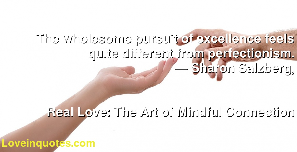 The wholesome pursuit of excellence feels quite different from perfectionism. ― Sharon Salzberg, Real Love: The Art of Mindful Connection