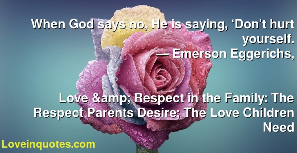 When God says no, He is saying, 'Don't hurt yourself.      ― Emerson Eggerichs,               Love & Respect in the Family: The Respect Parents Desire; The Love Children Need