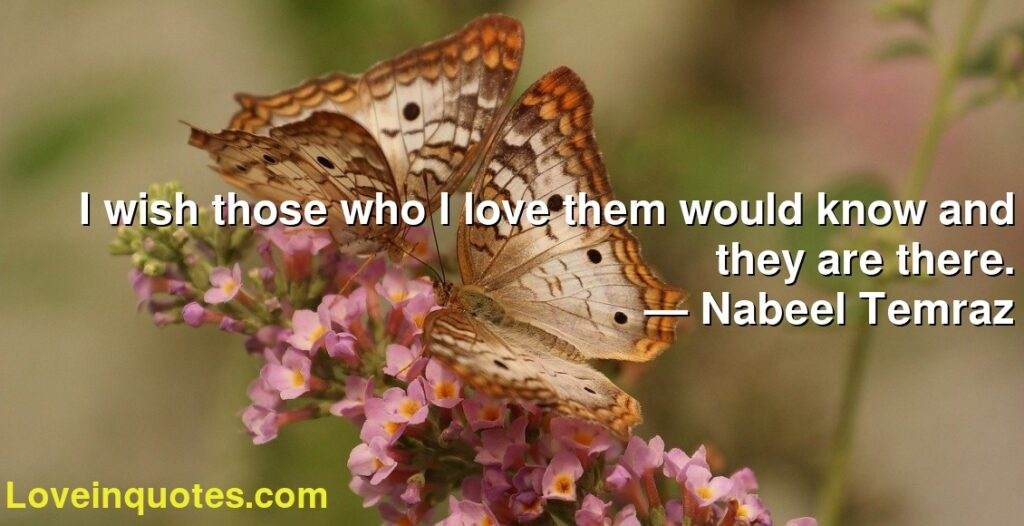 I wish those who I love them would know and they are there.      ― Nabeel Temraz
