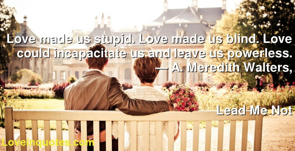 Love made us stupid. Love made us blind. Love could incapacitate us and leave us powerless.      ― A. Meredith Walters,               Lead Me Not