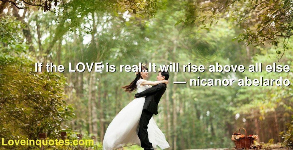 If the LOVE is real..It will rise above all else      ― nicanor abelardo