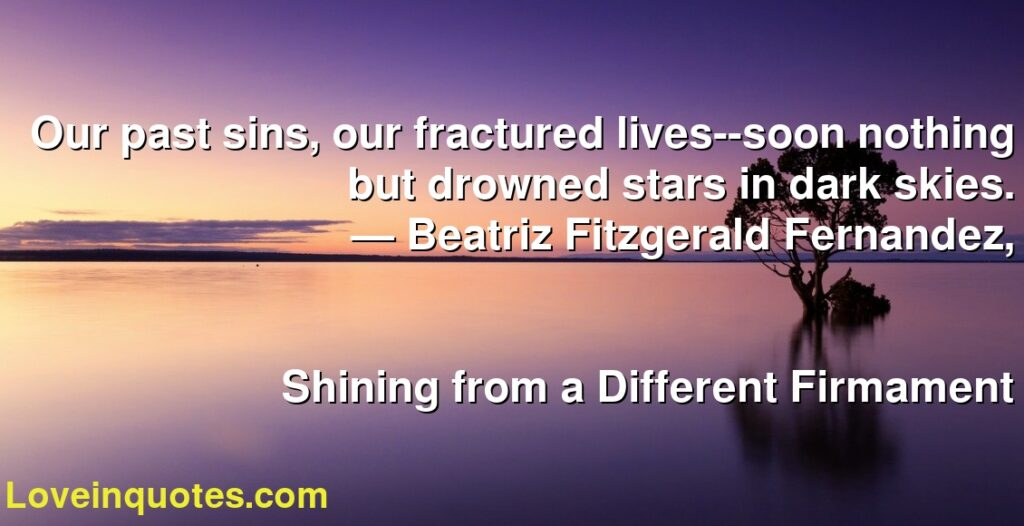 Our past sins, our fractured lives--soon nothing but drowned stars in dark skies.      ― Beatriz Fitzgerald Fernandez,               Shining from a Different Firmament